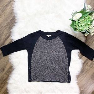 • Madewell Tweed Front Tee Sweater Top •